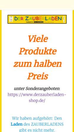 Vorschau der mobilen Webseite www.derzauberladen.de, Der Zauberladen Fachhandel für Spiel- und Theaterbedarf Hoffmann-Argast Loskill GbR