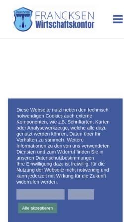 Vorschau der mobilen Webseite www.francksen.com, Francksen Wirtschaftskontor