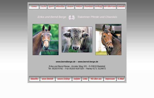 Vorschau von www.bernd-berge.de, Trakehner und Charolais Zucht Erika und Bernd Berge