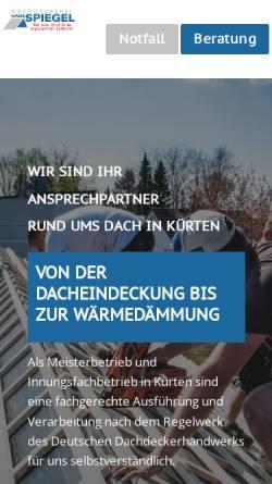 Vorschau der mobilen Webseite www.dachdecker-spiegel.de, Dachdeckermeister Norbert Spiegel