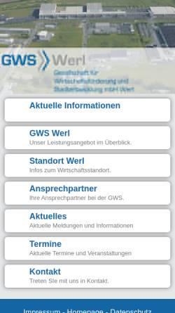Vorschau der mobilen Webseite www.gws-werl.de, Gesellschaft für Wirtschaftsförderung und Stadtentwicklung mbH Werl