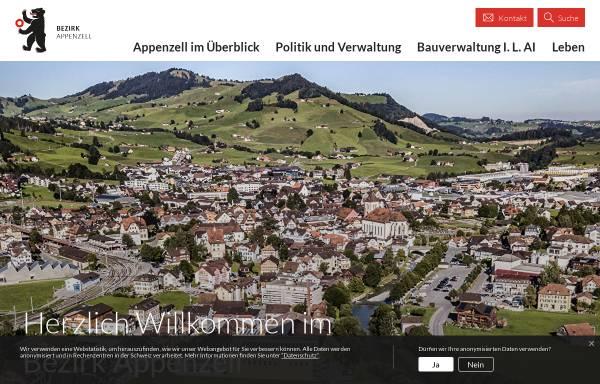 Vorschau von www.appenzell.org, Bezirk Appenzell, offizielle Seite