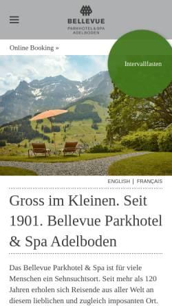 Vorschau der mobilen Webseite www.parkhotel-bellevue.ch, Parkhotel Bellevue & Spa: Wanderferien und Wellness in den Berner Alpen