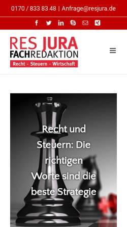 Vorschau der mobilen Webseite www.resjura.de, RES JURA Redaktionsbüro - Inh. Viola C. Didier