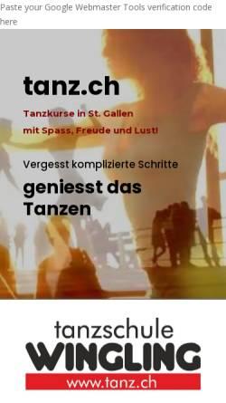 Vorschau der mobilen Webseite www.tanz.ch, Tanzschule Wingling