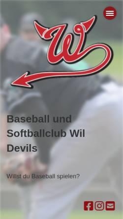 Vorschau der mobilen Webseite www.wildevils.ch, Baseball-Club Wil Devils