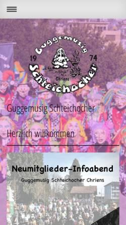 Vorschau der mobilen Webseite www.schteichocher.ch, Guggenmusik Schteichocher, Sarnen