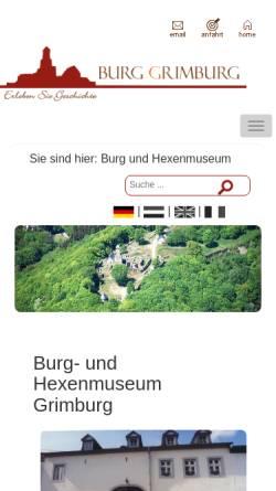 Vorschau der mobilen Webseite burg-und-hexenmuseum.de, Burg- und Hexenmuseum Grimburg