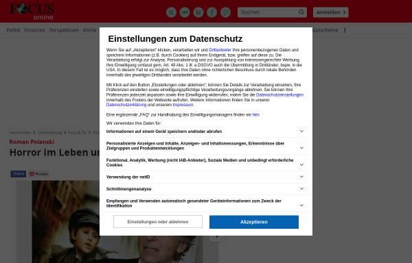 Vorschau von www.focus.de, Roman Polanski: Horror im Leben und im Film - Focus Online