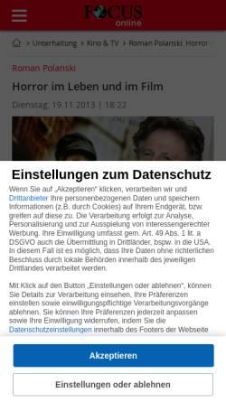 Vorschau der mobilen Webseite www.focus.de, Roman Polanski: Horror im Leben und im Film - Focus Online