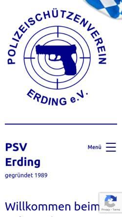 Vorschau der mobilen Webseite www.psv-erding.de, Polizeischützenverein Erding e.V.