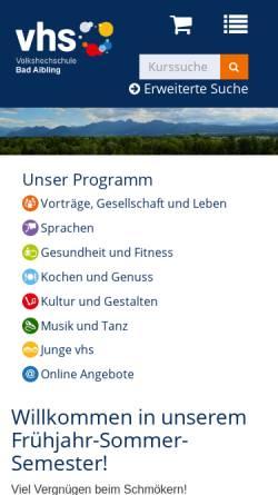 Vorschau der mobilen Webseite www.vhs-bad-aibling.de, Volkshochschule Bad Aibling e.V.