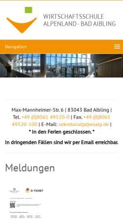 Vorschau der mobilen Webseite www.wsalp.de, Wirtschaftsschule Alpenland