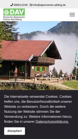 Vorschau der mobilen Webseite www.alpenverein-aibling.de, Alpenverein Bad Aibling