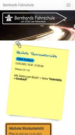 Vorschau der mobilen Webseite www.bernhards-fahrschule.de, Bernhards Fahrschule