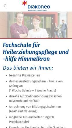 Vorschau der mobilen Webseite www.fachschule-himmelkron.de, Fachschule für Heilerziehungspflege