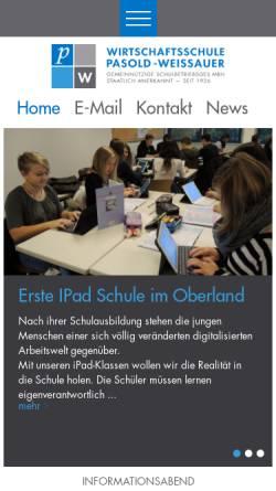 Vorschau der mobilen Webseite www.pasold-weissauer.de, Wirtschaftsschule Pasold Weissauer