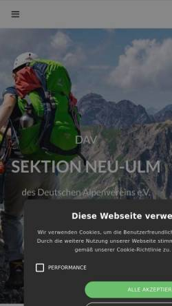 Vorschau der mobilen Webseite www.dav-neu-ulm.de, Deutscher Alpenverein e. V. (DAV) - Sektion Neu-Ulm