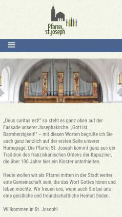 Vorschau der mobilen Webseite www.st-joseph-muenchen.de, Pfarrei St. Joseph
