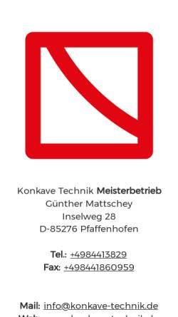 Vorschau der mobilen Webseite www.konkave-technik.de, Konkave-Technik