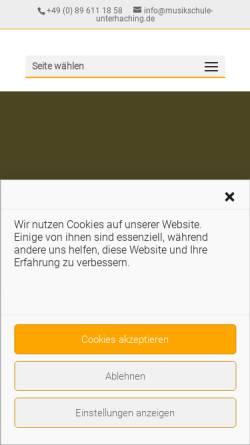 Vorschau der mobilen Webseite www.musikschule-unterhaching.de, Musikschule Unterhaching e.V.
