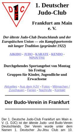 Vorschau der mobilen Webseite www.1djc.de, 1. Deutscher Judo-Club e.V. Frankfurt am Main