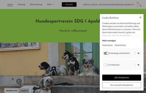Vorschau von www.hundesport-apolda.jimdosite.com, Hundesportverein Sektion Dienst- und Gebrauchshundewesen e.V.