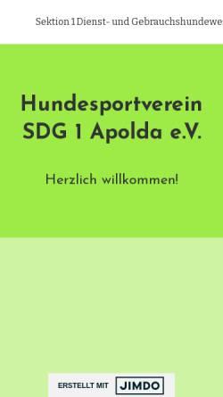 Vorschau der mobilen Webseite www.hundesport-apolda.jimdosite.com, Hundesportverein Sektion Dienst- und Gebrauchshundewesen e.V.