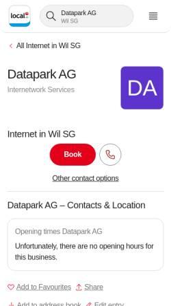 Vorschau der mobilen Webseite yellow.local.ch, Datapark AG