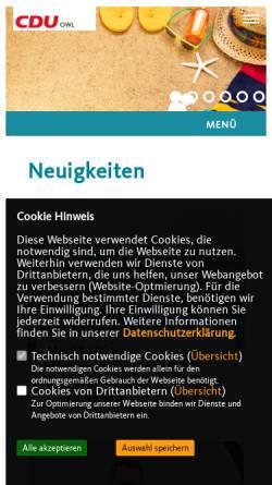 Vorschau der mobilen Webseite www.cduowl.de, CDU Bezirksverband Ostwestfalen-Lippe