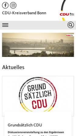 Vorschau der mobilen Webseite www.cdu-bonn.de, CDU-Kreisverband Bonn