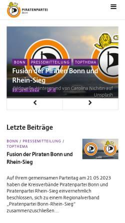Vorschau der mobilen Webseite blog.piratenpartei-nrw.de, Piratenpartei Bonn