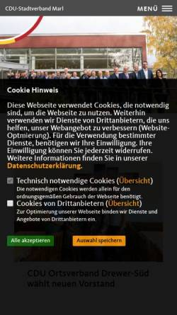 Vorschau der mobilen Webseite www.cdu-marl.de, CDU-Stadtverband Marl, Westfalen