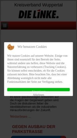 Vorschau der mobilen Webseite www.dielinke-wuppertal.de, Die Linke. Kreisverband Wuppertal