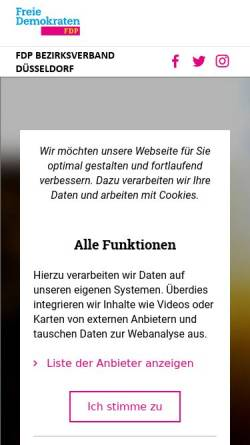 Vorschau der mobilen Webseite www.fdp-bv-duesseldorf.de, FDP Bezirksverband Düsseldorf