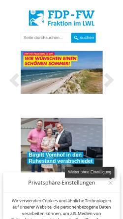 Vorschau der mobilen Webseite www.fdp-fw-westfalen.de, FDP-Fraktion beim Landschaftsverband Westfalen-Lippe (LWL)