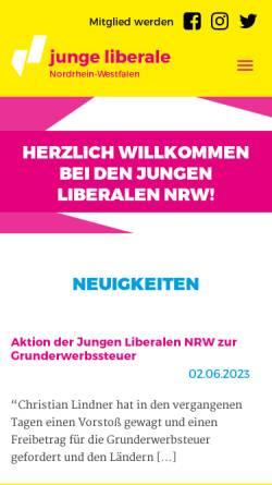 Vorschau der mobilen Webseite www.junge-liberale-nrw.de, JuLis - Junge Liberale Nordrhein-Westfalen