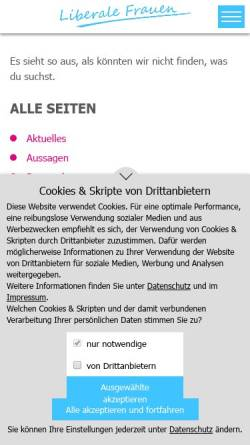Vorschau der mobilen Webseite www.liberale-frauen.de, Liberale Frauen Nordrhein-Westfalen