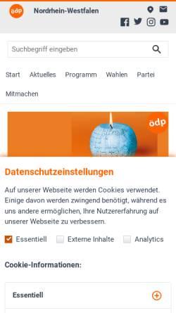 Vorschau der mobilen Webseite www.oedp-nrw.de, ÖDP-Landesverband Nordrhein-Westfalen