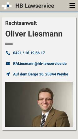 Vorschau der mobilen Webseite www.hb-lawservice.de, Kanzlei Würth und Kollegen