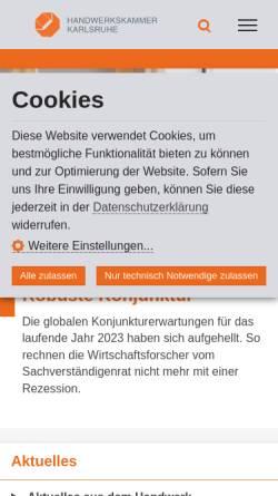 Vorschau der mobilen Webseite www.hwk-karlsruhe.de, Handwerkskammer Karlsruhe