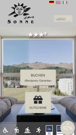 Vorschau der mobilen Webseite www.sonne-stmoritz.ch, Hotel Sonne
