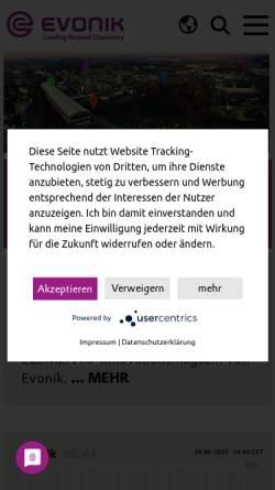 Vorschau der mobilen Webseite corporate.evonik.de, Evonik Industries AG