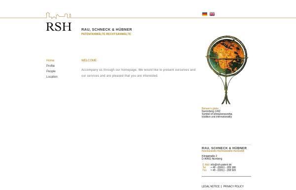 Vorschau von www.rsh-patent.de, Patentanwaltskanzlei Rau, Schneck & Hübner, Nürnberg