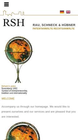Vorschau der mobilen Webseite www.rsh-patent.de, Patentanwaltskanzlei Rau, Schneck & Hübner, Nürnberg