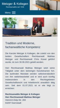 Vorschau der mobilen Webseite www.metzgerundkollegen.de, Metzger & Kollegen, Rechtsanwälte