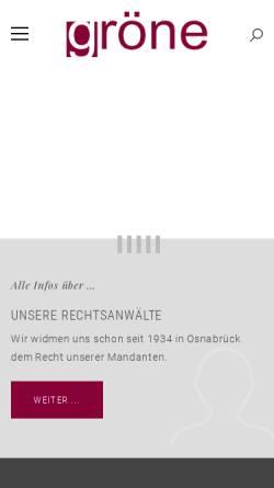 Vorschau der mobilen Webseite www.ra-groene.de, Anwaltssozietät Gröne & Cramer