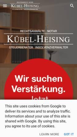 Vorschau der mobilen Webseite www.raekh.de, Rechtsanwälte Kübel-Heising
