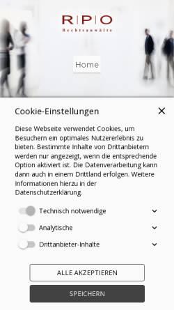 Vorschau der mobilen Webseite www.rpo-rechtsanwaelte.de, RPO Rechtsanwälte