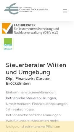 Vorschau der mobilen Webseite www.steuerberatung-broeckelmann.de, Steuerberater Carsten Bröckelmann